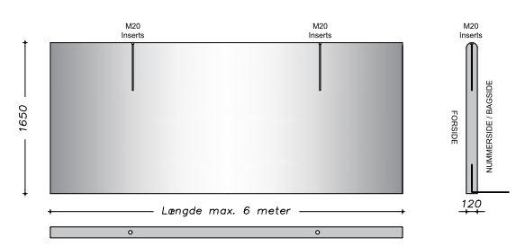 165 cm - Afrundet vaskevæg - Fas kant lodret