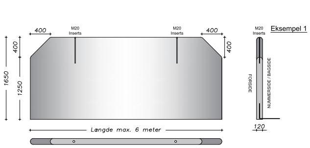 165 cm  - Afrundet vaskevæg - Vandret & lodret