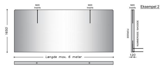 165 cm - Vaskevæg - Fas kant vandret & lodret