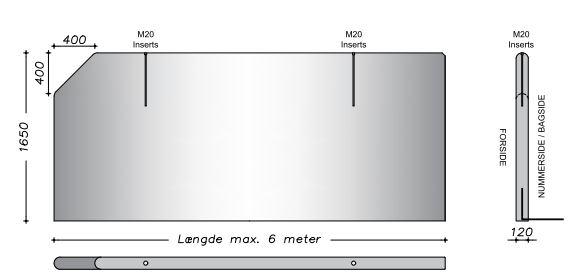 165 cm - Vaskevæg - Lodrette sider m. fas kant i højre side