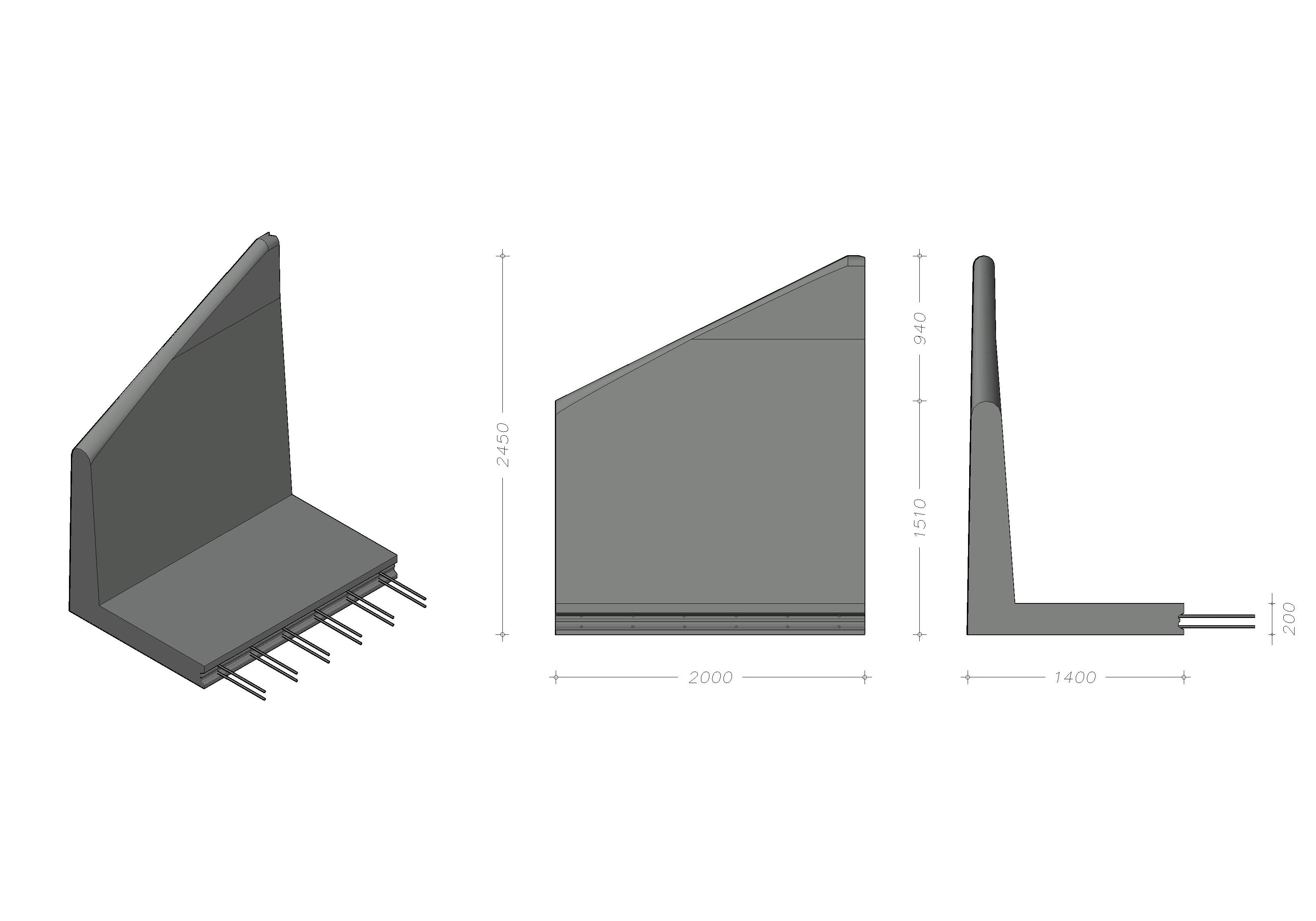 L-245 X 200 - Endeelement, venstre - leveres også som højre