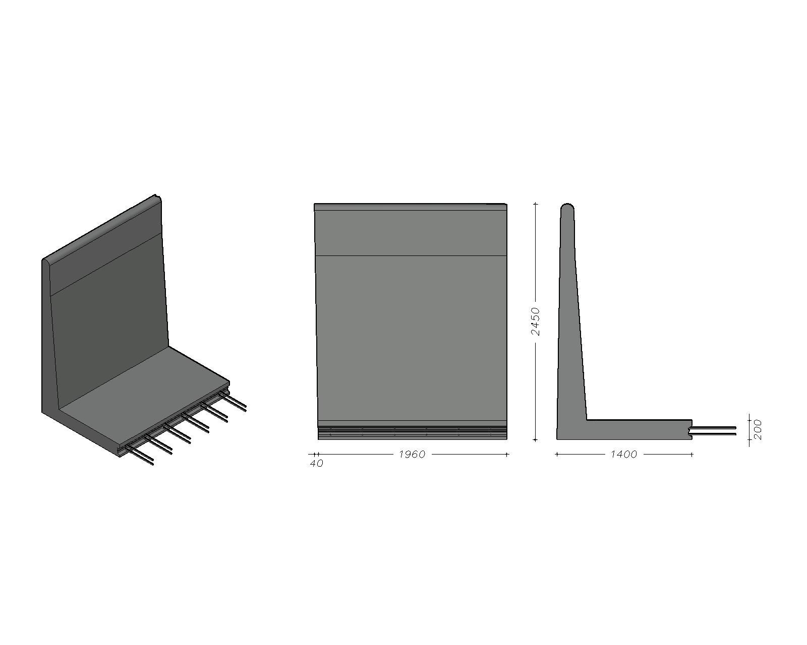 L-245 X 200 - Paselement, venstre - leveres også som højre - tilpasning mod ryg