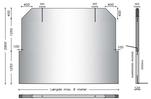 290 cm  - Vaskevæg