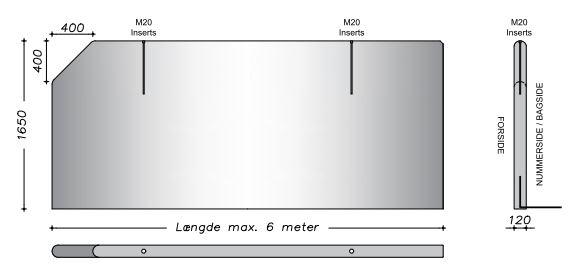 290 cm - Afrundet vaskevæg - Lodrette sider m. fas kanter