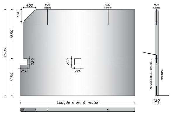 290 cm - Afrundet vaskevæg - Lodrette sider m. fas kant i højre side