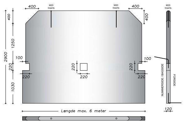 290 cm - Afrundet vaskevæg m. udsparing