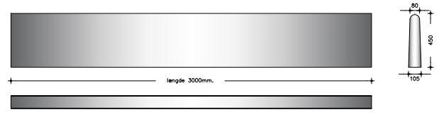 45 cm - Afrundet bagkant - Foderbordselement
