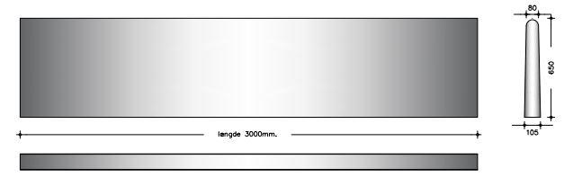 65 cm - Afrundet bagkant - Foderbordselement