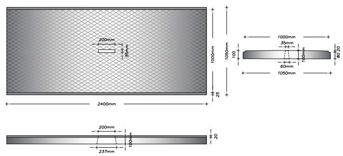 G100F - Gangplade m. slids til gylleprop