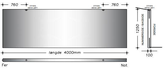 10x125x400cm - Kanalelement