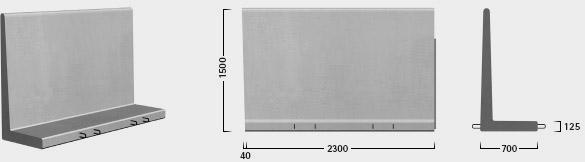 L-150 x 230  - Paselement, venstre - leveres også som højre - tilpasning mod element ryg