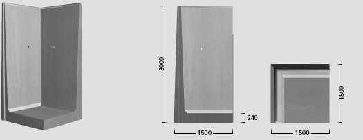 L-300 X 150 - Helstøbt hjørneelement