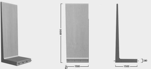 L-400 X 150 - Paselement, venstre - leveres også som højre - tilpasning mod ryg